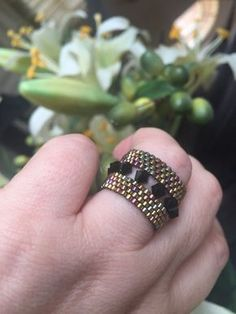 Swarovski Crystal Ring, Swarovski Ring, Beaded Ring, Peyote, unique jewelry, seed bead ring, Statement Ring, Cocktail Ring