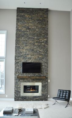 Montigo L-Series Linear Gas Fireplace with Stainless Steel Surround