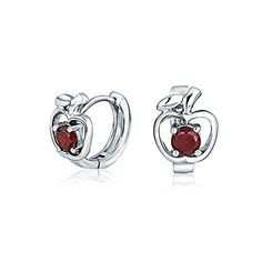 Bling Jewelry Sterling Silver Simulated Garnet CZ Red Apple Hoop Earrings -- Check out this great product. (This is an affiliate link and I receive a commission for the sales)