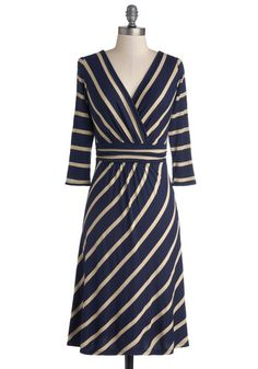 Over and Outdoors Dress - Knit, Long, Jersey, Blue, Tan / Cream, Stripes, Work, A-line, 3/4 Sleeve, Good, V Neck, Casual
