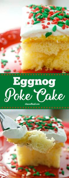 If you love eggnog, then you are going to love this dessert! This Eggnog Poke cake is great for all of your holiday get togethers—and not to mention EASY! Cake Eggnog Poke Cake - Oh Sweet Basil Holiday Desserts Christmas Cake, Easy Christmas Cake Recipe, Christmas Baking, Christmas Holidays, Christmas Parties, Christmas Treats, Christmas Meal Ideas, Easy Holiday Recipes, Christmas Cupcakes