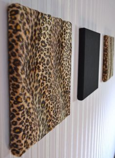 "Gorgeous Leopard-Cheetah Fur Canvas-Style Wall Panel - Set of 3 - 10"" x 10"" via Etsy."