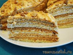 Торт «Рыжик»- мёд, сливки, орехи