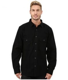 Woolrich Expedition Chamois Shirt (Black) Men's Long Sleeve Button Up