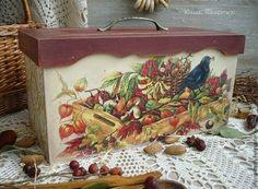 "Короб-хлебница ""Дары Природы"" - бордовый,хлебница,хлебница декупаж,деревенский стиль"
