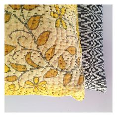 Morrocco meets Bangladesh  stunning colours and textures. Available online now  #globalliving #interiors #decor #homewares #cushions #pillows #kantha #texture #colour #yellow #citrus #monochrome