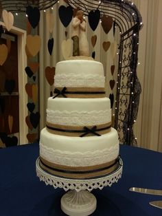 Burlap and Lace Wedding Cake- make the bows gold with glitter! :D