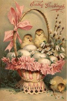 Cute little chicks for Easter, Vintage Easter card Easter Vintage, Vintage Holiday, Decoupage, Vintage Greeting Cards, Vintage Postcards, Diy Ostern, Easter Parade, Festa Party, Hoppy Easter