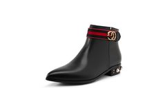 Comfortable High Quality Soft Genuine Leather Pointed Toe Fashion Ankle Boots For Women Ladies Low Heel Black and Red