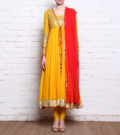 Yellow Georgette Anarkali Suit With Gota Patti
