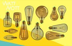 WattNott: bombillas edison con tecnología led (de Plumen). El fabricante Plumen creó la colección WattNott, formada por 6 modelos de bombilla edison, pero fabricados con tecnología LED. Todos ellos están inspirados en la clásica bombilla de filamento de carbono, patentada por Thomas Edison. Cada uno de estos diseños se produce con vidrio claro o con vidrio tintado dorado. El consumo oscila entre los 4 y 5W. Todas son regulable en intensidad. Tabla con un resumen de su