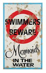 mermaids in the water. Fun, colorful signage that you can hang poolside, on your fence, or in your beach home. Be warned of mystical mermaids that may appear! Powder coated tin printed to look vintage and worn. Mermaid Sign, Mermaid Quotes, Mermaid Cove, Mermaid Lagoon, Mermaid Tails, Mermaid Art, Mermaid Bathroom, Pool Bathroom, Funny Bathroom