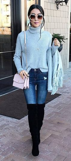 fall fashion trends / blue sweater + bag + skinnies + cardi + over knee boots