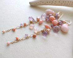 Rose violet boucles d'oreilles longues pierres précieuses boucles d'oreilles, boucles opale rose, Cluster améthyste boucles d'oreilles