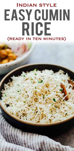 Perfect Jeera Rice (Indian Cumin Rice) - Cumin Rice or Jeera Rice is fragrant, fluffy, basmati rice sautéed with cumin and steamed. Side Dishes For Chicken, Rice Side Dishes, Food Dishes, Curry Side Dishes, Prawn Dishes, Indian Food Recipes, Vegetarian Recipes, Cooking Recipes, Healthy Recipes