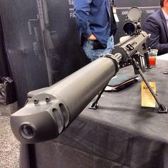 PP: Suppressed .50 cal. Anyone can buy this monster at a gun show. No background check required. What is it for?, I asked. Gun nut states it could be used to reach out and touch someone who would remove said gun and violate second amendment rights. Is that a threat?