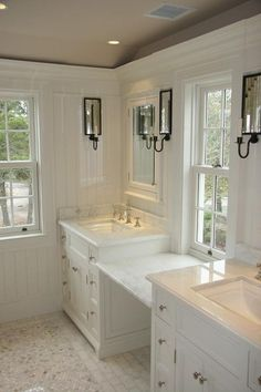 Master bathroom with beautiful millwork & marble counters & tile - Toby Leary Fine Woodworking