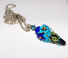 Handmade Lampwork Jewelry beaded floral talisman necklace turquoise navy blue and black on Etsy, $45.00