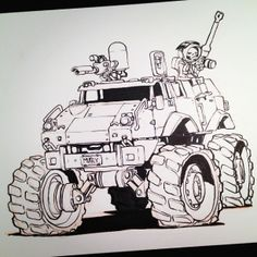INKtober Day 19 #inktober Skull's pretty happy with his new Mars rover.