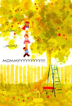 Picking Apples by Pascal Campion Children's Book Illustration, Digital Illustration, Pixiv Fantasia, Pascal Campion, Wow Art, Mellow Yellow, American Artists, Amazing Art, Concept Art