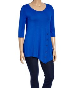Royal Blue Button-Front Tunic - Plus by MOA Collection #zulily #zulilyfinds