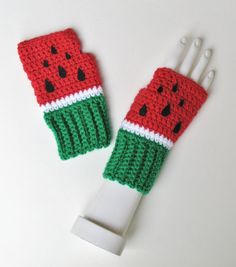 Watermelon Wristwarmers, Fingerless Mitts, Crocheted Texting Gloves, Adorable Stocking Stuffer