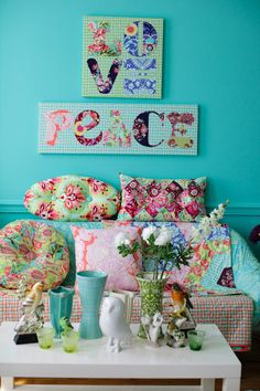 fabric letters w/ mod podge ~ love all these gorgeous colors ~ front porch swing color inspiration
