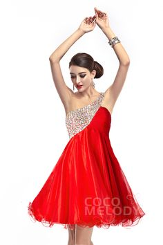 A-Line One Shoulder Red Homecoming Dress #cocomelody