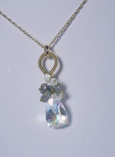 Rainbow Quartz Labradorite Gold Filled Cluster Pendant by MiShelli, $108.00