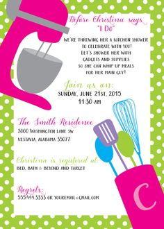 Throw the perfect kitchen shower with this cute and sassy invitation! This invitation can be customized with different colors, file size, fonts, etc. With the purchase of this item, you will receive unlimited proofs, and a high resolution file that will be emailed to you as either a JPEG or PDF file. You can have your file printed anywhere youd like...Wal-Mart, online printing companies, or even your personal printer at home!  Price for one high resolution file is $12.00. Add a matching…