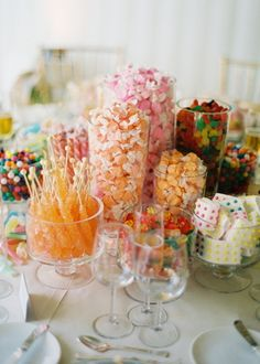 Your candy buffet is a reflection of YOU!  Feature your favorite candies for a personalized treat for your guests - no color scheme necessary!  We carry all of the candies featured in this buffet at Powell's Sweet Shoppe in Laguna Niguel.