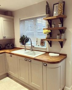 There is no question that designing a new kitchen layout for a large kitchen is much easier than for a small kitchen. A large kitchen provides a designer with adequate space to incorporate many convenient kitchen accessories such as wall ovens, raised. Shaker Style Kitchens, Shaker Kitchen, Kitchen Redo, Home Decor Kitchen, Country Kitchen, New Kitchen, Home Kitchens, Kitchen Cabinets, Wood Worktop Kitchen