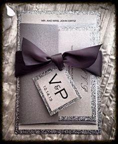 Wedding Invitations Silver Glitter Wedding por VPElegance en Etsy