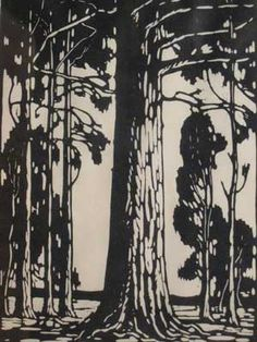 J H Pierneef - Photo Linocut Bluegum Trees Signed In The Plate 37 x 27 Art Prints, Illustrations And Posters, Lovers Art, Art Images, Woodcut Art, Linocut, South African Art, Summer Drawings, Tree Drawing