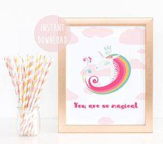 Printable art, Unicorn wall art, unicorn gift, girls wall art, unicorn lover,girl printable, nursery decor, playroom art, cute poster