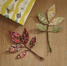 liberty, fabric leav, gift, bookmark, button, mollie makes, leaves, fabric scraps, flower