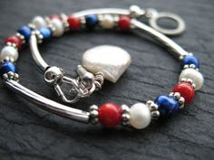 Fourth of July Bracelet Red White and Blue by AliCsCreations, $13.75