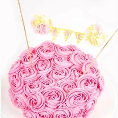 "Pink Lemonade Cake Smash, First birthday cake banner,""ONE"" C296 - birthday bunting cake topper"