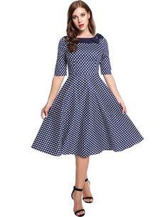 Blue Vintage Styles Doll Collar Half Sleeve Dot Bow Casual Dress