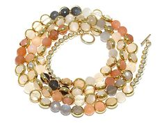Soft delicate colors of spring with a little hint of Glam. Stunning! Wrap as a bracelet or wear as a necklace! #nickijean
