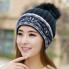 Rabbit fur ball knit hat for girls geometric beanie winter hats