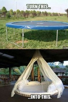 Trampoline bed for outside porch