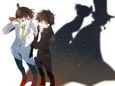 Shinichi and Kaito - Friends and Enemies Conan Movie, Detektif Conan, Magic Kaito, Detective Conan Shinichi, Kaito Kuroba, Conan Comics, Gosho Aoyama, Kaito Kid, Dc Anime