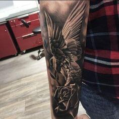 Tricep Tattoos, Forarm Tattoos, Upper Arm Tattoos, Rose Tattoos, Body Art Tattoos, Bird Tattoo Sleeves, Cool Half Sleeve Tattoos, Forearm Sleeve Tattoos, Tattoo Sleeve Designs