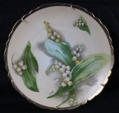 L31 Antique Oscar Edgar Gutherz Austria Hand Painted Lily of The Valley Plate | eBay