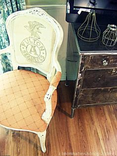 industrial chic metal dresser and grain sack chair