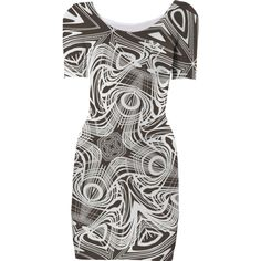 STYLISH TAUPE AND WHITE INTRICATE ABSTRACT PATTERNED BODY CON DRESS from Print All Over Me