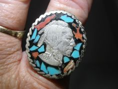 NATIVE AMERICAN STERLING 1937 AMERICAN BUFFALO NICKEL CORAL/TURQUOISE INLAY RING