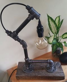 Black Iron Pipe Edison Bulb Reclaimed Wood by WestCoastRepurposed