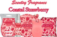 Scentsy's Coastal Strawberry brings Earthy, fruity strawberry vine and raspberry seeds over jasmine petals. https://cuanam50.scentsy.us/product/search?query=coastal%20strawberry